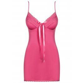 Set noční košilky a tang v růžové barvě Obsessive Blackardi chemise