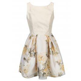 Krémové květované šaty s áčkovou sukní Mela London