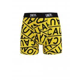 Černo-žluté vzorované boxerky Sock It to Me Caution Tape