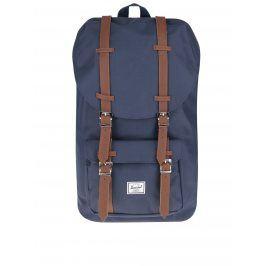 Tmavě modrý batoh s hnědými popruhy Herschel Little America 25 l