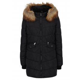 Černý prošívaný kabát s umělou kožešinou ONLY Sanna