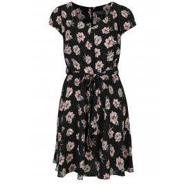 Černé květované šaty s krátkým rukávem Billie & Blossom Curve