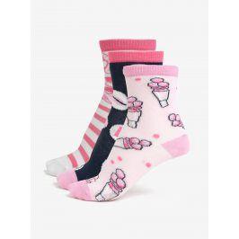 Bílo-růžová sada tří párů holčičích ponožek Lego Wear Agata