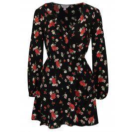 Černé květované šaty s překládaným výstřihem Miss Selfridge