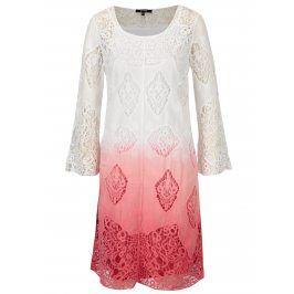 Růžovo-bílé krajkové šaty 2v1 s 3/4 rukávem YEST