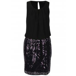 Fialovo-černé šaty s flitrovanou sukní VERO MODA Silje