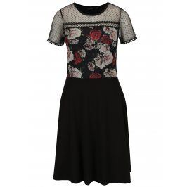 Černé šaty s květovaným topem Dorothy Perkins