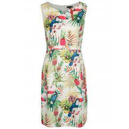 Krémové šaty s tropickým vzorem Smashed Lemon