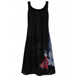 Černé překládané květované šaty Desigual Godofredo