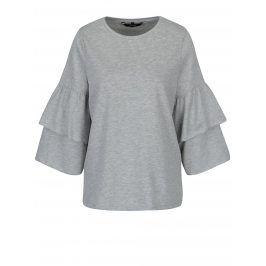 Světle šedé tričko s volány na rukávech VERO MODA Vippy