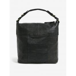 Černá velká kožená kabelka Pieces Ida
