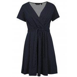 Tmavě modré puntíkované šaty Dorothy Perkins Curve