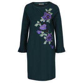 Tmavě zelené šaty s nášivkami květin Rich & Royal