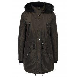 Khaki zimní parka s kapucí a umělým kožíškem Dorothy Perkins
