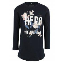 Tmavě modré holčičí dlouhé tričko s potiskem Name it Jiss