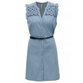 Světle modré džínové šaty s výšivkou Pepe Jeans Lura