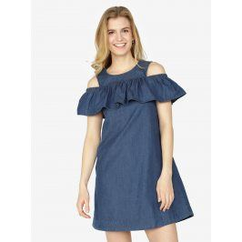 Tmavě modré džínové šaty s průstřihy na ramenou a volánem VERO MODA Samba
