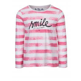 Růžovo-bílé holčičí pruhované tričko s dlouhým rukávem 5.10.15.