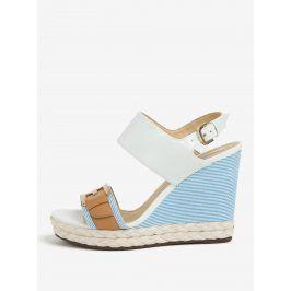 Krémovo-modré vzorované sandály na klínu Geox Janira