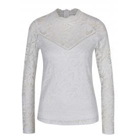 Bílý krajkový top s dlouhým rukávem VILA Stasia