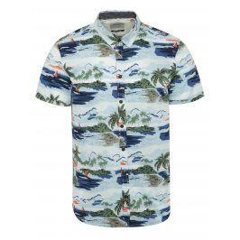 Bílo-modrá vzorovaná košile s krátkým rukávem Blend