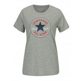 Šedé dámské žíhané tričko s potiskem Converse Core