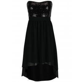 Černé šaty s flitrovaným topem bez ramínek Haily´s Gloria
