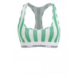 Bílo-zelená pruhovaná podprsenka Calvin Klein