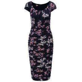 Tmavě modré květované pouzdrové šaty M&Co
