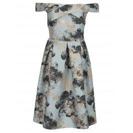 Tyrkysové květované šaty s odhalenými rameny Miss Selfridge