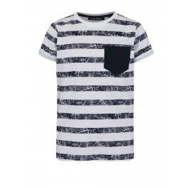 Bílé klučičí pruhované tričko s kapsou Blue Seven