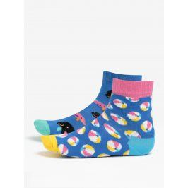 Sada dvou párů modrých dětských vzorovaných ponožek Happy Socks Beach Ball