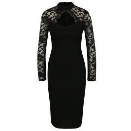 Černé pouzdrové šaty s průstřihem v dekoltu AX Paris