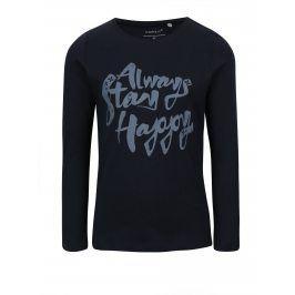 Tmavě modré holčičí tričko s potiskem a dlouhým rukávem name it Veen