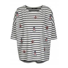 Krémové pruhované volné tričko s nášivkou Desigua Ellen