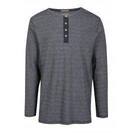 Černé žíhané tričko s knoflíky Jack & Jones Giovanni