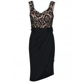 Černé krajkové asymetrické šaty Little Mistress
