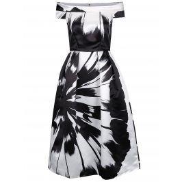Bílo-černé lesklé vzorované midišaty s odhalenými rameny Closet