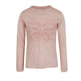 Světle růžové holčičí tričko s motivem květu name it Karla