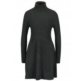Tmavě šedé svetrové šaty s rolákem ONLY Alma