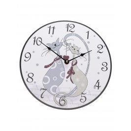 Bílé hodiny s motivem koček Dakls