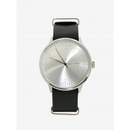 Unisex hodinky ve stříbrné barvě s černým koženým páskem CHPO Harold Silver