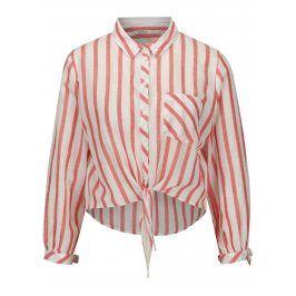 Krémovo-červená pruhovaná krátká košile ONLY Ameli