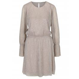 Béžové třpytivé šaty s dlouhým rukávem ONLY Yade