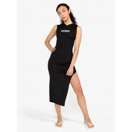 Černé asymetrické šaty se šněrováním na zádech Ivy Park