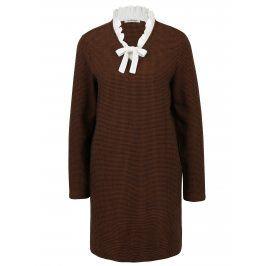 Modro-hnědé vzorované svetrové šaty s příměsí vlny Rich & Royal