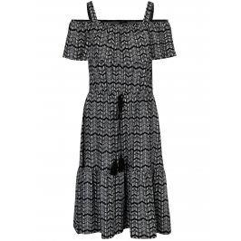 Bílo-černé šaty s volány Yest