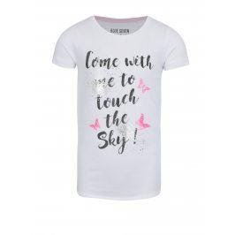 Bílé holčičí tričko s potiskem motýlů Blue Seven
