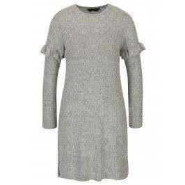 Šedé žíhané šaty s volány na rukávech Dorothy Perkins