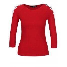 Červené tričko s pásky na ramenou TALLY WEiJL